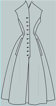 Эскиз модели цельнокроенного платья с рельефами от проймы